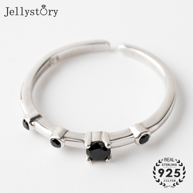 Jellystory Fashion 925 Silver Open Rings with Obsidian Gemstones for Women Geometric Shaped Adjustable Ring Wedding Gift Jewelry