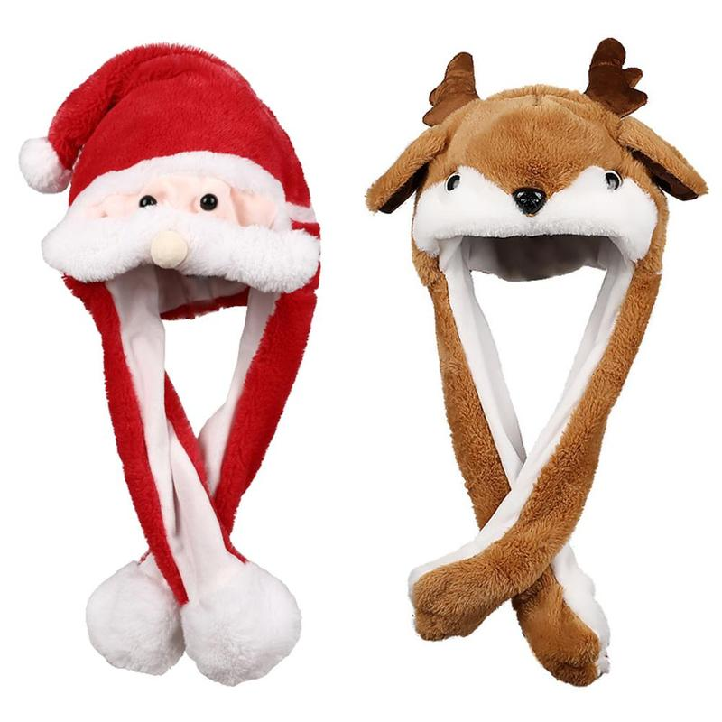 New Christmas Elk Luminous Ear Moving Hat Xmas Party Hair Hoop Santa Claus Hat Moves Ears Hat Cap Plush Toy Children Gifts
