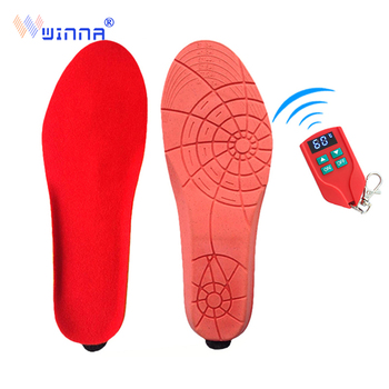 Intelligent Electric Heated Insole Winter Shoes Boots Thermal Pad with LED Remote Control Red Memory Foam EUR Size 35-46#2000MAH