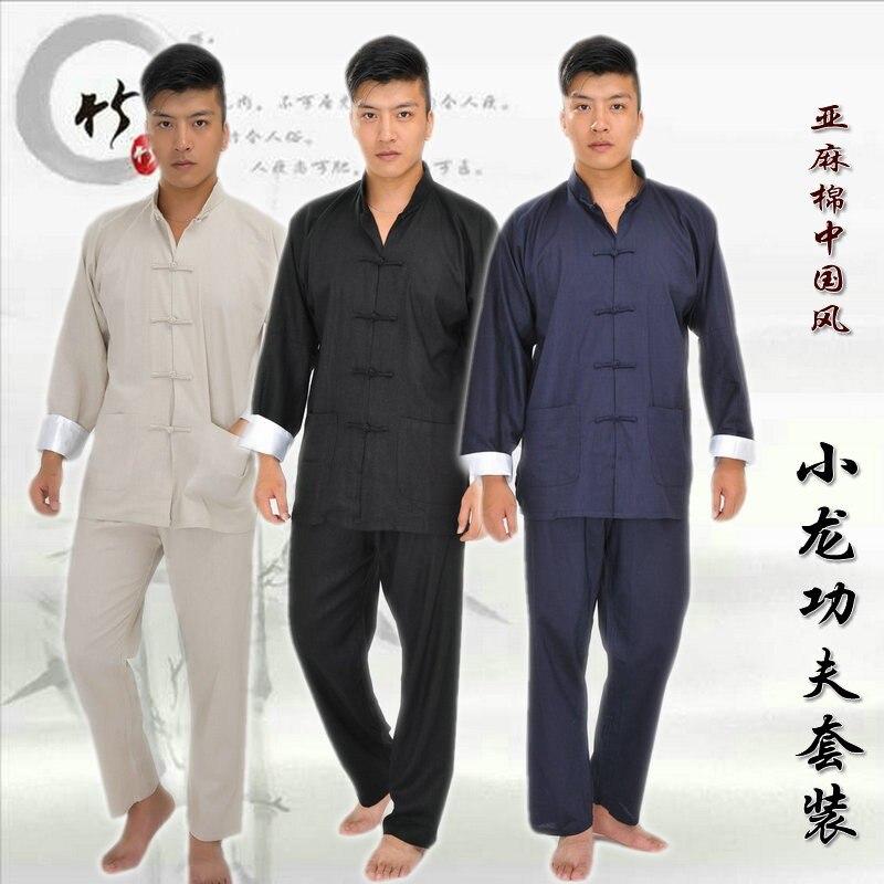 Mens Chinese Traditional Tang Suits Bruce Lee Wing Chun Kung Fu Uniform Taiji Tai Chi Martial Arts Jacket+pants Clothes Set