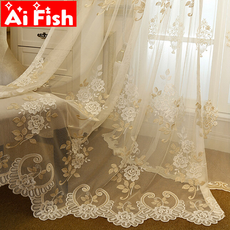 Europe Luxury Pastoral Flower Window Tulle Curtains For living Room bottom Lace Window Treatment Bedroom Sheer Voile Drapes#3|Curtains| |  - title=
