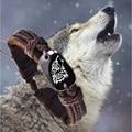 Модный новый продукт, в стиле ретро; Модные плетеные Плетеный кожаный шнур унисекс волк логотип модный браслет