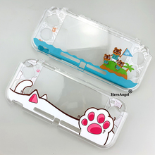 Cat Paw For Switch Lite Crystal Shell PC Hard Cover Housing Frame Transparent Protective Case For Nintendo Switch Lite Accessori