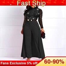 Black Long Sleeve Plus Size High Waist Straight Plain Jumpsuit Women Elegant For