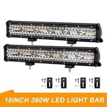 "LED Light Bar Offroad 4X4 360W 18 ""ทำงานLight Bar 12V 24V Combo Beamsไฟหน้ารถสำหรับรถบรรทุกATV Auto SUV ATV Led Barra"