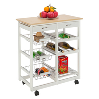 Moveable Kitchen Cart with Two Drawers & Two Wine Racks & Three Baskets 360 Degrees Swivel Caster Kitchen Cart Home Storage
