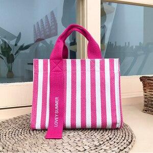 Image 1 - Multiple pocket stripe tote bolsa casual lona macio crossbody sacos para mulheres moda coreano portátil bolsa de ombro