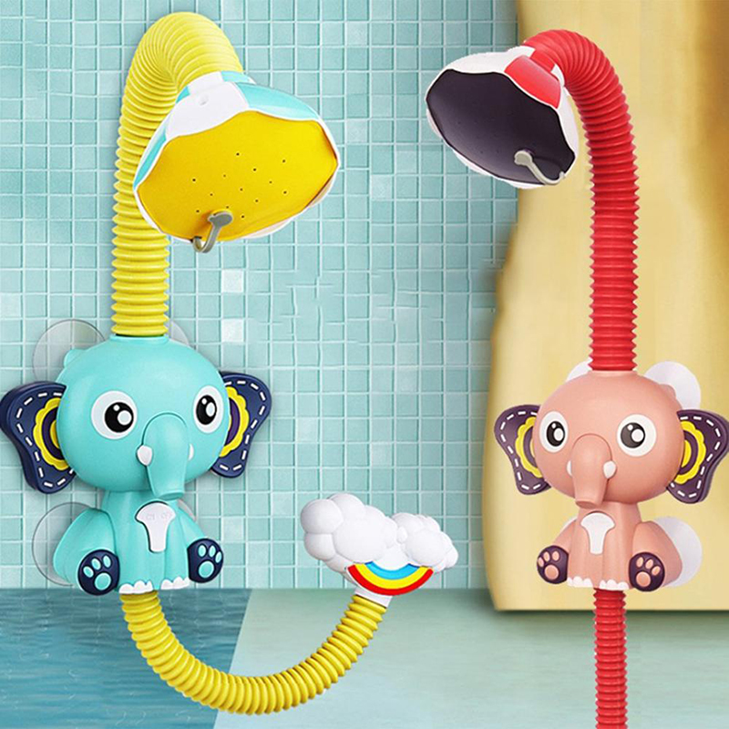 Baby Bath Toys Electric  Shower Rain Head Elephent Animal Sucker Plastic For Children Game Water Cloud Gift