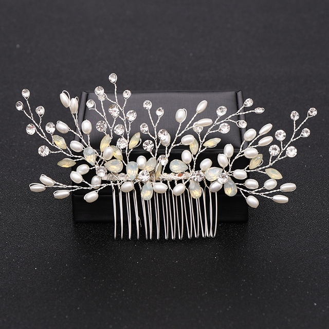 Silver Color Pearl Crystal Wedding Hair Combs Hair Accessories for Bridal Flower Headpiece Women Bride Hair ornaments Jewelry 3
