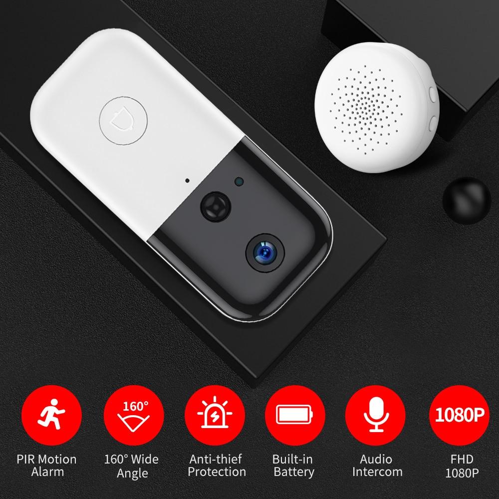 SDETER Wireless Wifi Video Doorbell Intercom Home Security Door Camera 2 Way Audio PIR Night Vision Rechargeable Battery Powered