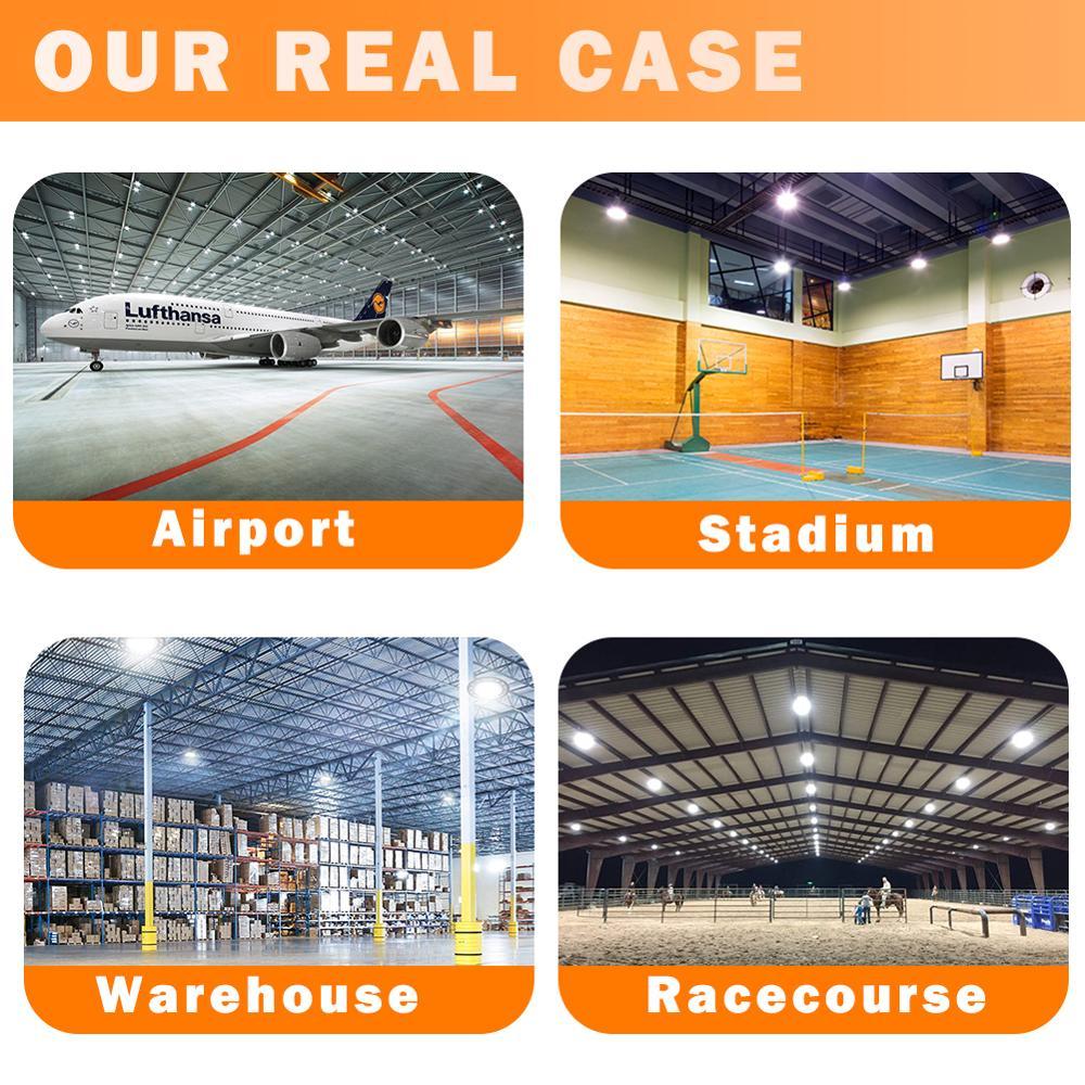 Plug Warranty 5 Years Led High Bay Light Waterproof IP65 UFO Warehouse Workshop Garage Industrial Lamp Stadium Market Airport