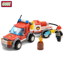 Fire Rescue Truck Legoingly Model Building Blocks Kit Children Educational Assembling Bricks Toys Kids Gift Wholesale banbao 7110 fire station firefighters truck helicopter educational building blocks model toy bricks for children kids friends