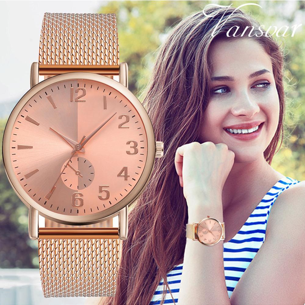 Luxury Brand Vansvar Quartz Wrist Watch High Quality Plastic Leather Band Clock Analog Wrist Watch Women Fashion Reloj Mujer