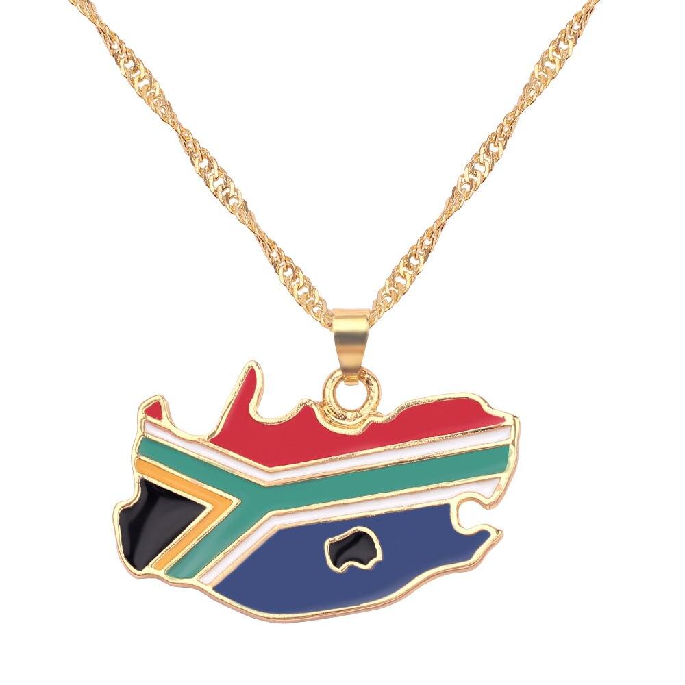 Новая карта страны, флаг, ожерелье, Африка, Гана, Liberia Undersea, Jamaica, Южная Африка, Congo, Honduras, подвеска, цепь, мужские ювелирные изделия - Окраска металла: South Africa