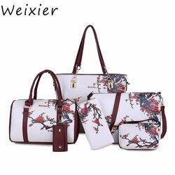 Weixier novas bolsas de couro do plutônio feminino impresso sacos designer 6 peças conjunto ombro crossbody sacos para mulheres grande tote ZK-13