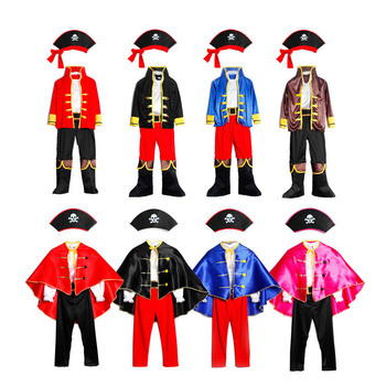Pirates Costume Children's Day Kids Boys Pirate Halloween Cosplay Set Birthday Party Cloak Outfit Christmas Theme - discount item  30% OFF Costumes & Accessories