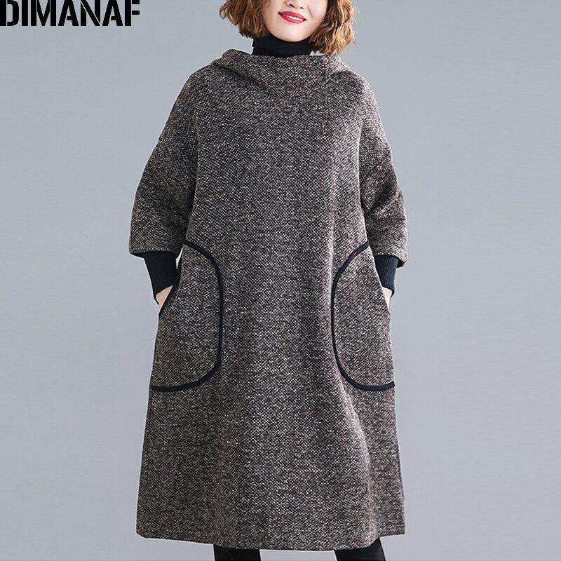 Image 5 - DIMANAF Plus Size Women Dress Vintage Autumn Winter Thick  Oversize Loose Female Vestidos Casual Hooded Pockets Knee Length  DressDresses