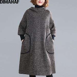 Image 5 - DIMANAF زائد حجم النساء اللباس خمر الخريف الشتاء سميكة كبير جدا فضفاض الإناث Vestidos عارضة مقنعين جيوب الركبة طول اللباس