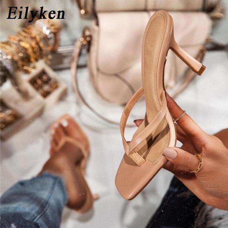 Eilyken-Sandalias de tacón alto de albaricoque para mujer, calzado Sexy cuadrado de Punta abierta, talla 43, novedad de verano