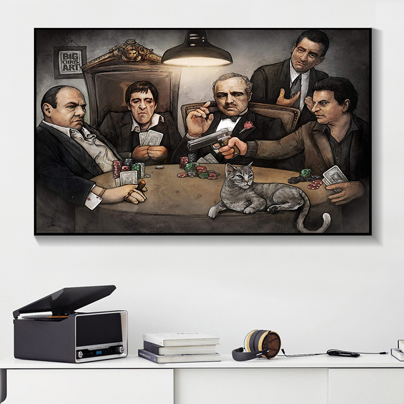 Modern Canvas Painting Gangers Art Print By Big Chris Art <font><b>Gangsters</b></font> Playing Poker <font><b>Poster</b></font> on Wall Art Picture for Living Room image