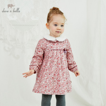 DB14826 dave bella winter baby girl's cute bow floral print fur dress children fashion party dress kids infant lolita clothes image