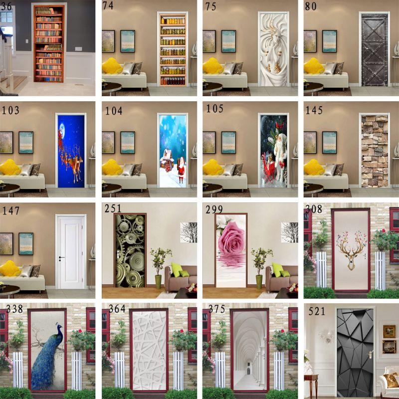 2pcs 77x200cm 3D Christmas Door Stickers For Living Room Bedroom PVC Self Adhesive Wallpaper Home Decor Waterproof Mural Decal