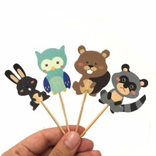 Cupcake Picks Toppers Animal Forest Birthday-Party Bear Cake-Decorations-Favors Kid Cartoon
