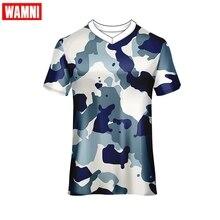 Мужская футболка WAMNI с коротким рукавом, армейский зеленый камуфляж, футболка для бега, спортивная одежда для гонок, топ с v-образным вырезом, Полиэстеровая быстросохнущая футболка