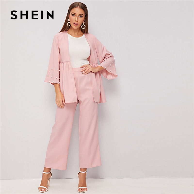 SHEIN Light Pink Pearls Beaded Coat And Wide Leg Pants Sets Autumn 2 Piece Set Women Elegant Office Ladies Outfits Two Piece Set