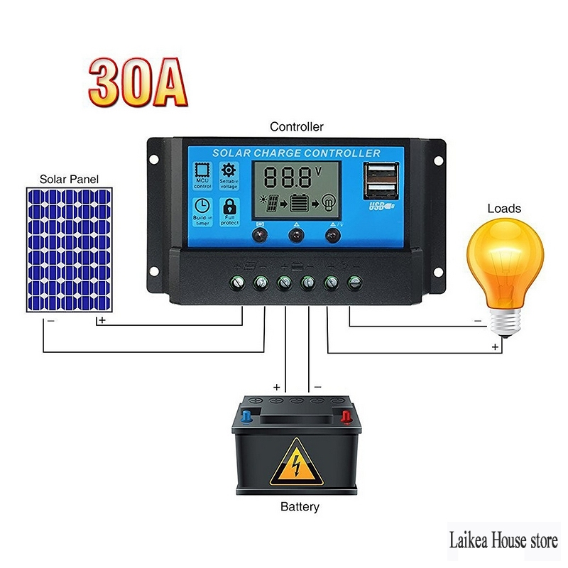 <font><b>30A</b></font> <font><b>Pwm</b></font> <font><b>Solar</b></font> <font><b>Charge</b></font> <font><b>Controller</b></font> Intelligent 20/10A 12 24V Auto Work <font><b>PWM</b></font> LCD Dual <font><b>Solar</b></font> Cell Panel Charger Regulator <font><b>Controller</b></font> image