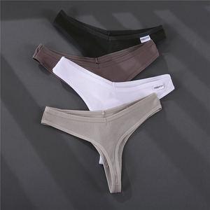 Image 4 - 3 Stks/set G string Slipje Katoen Vrouwen Ondergoed Sexy Slipje Vrouwelijke Underpants Thong Effen Kleur Pantys Lingerie M XL Ontwerp