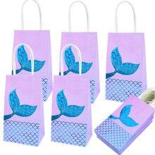 Sacs cadeaux en papier en forme de queue de sirène, 6 pièces, boîtes à bonbons pour enfants, décoration de fête à thème petite sirène pour anniversaire, fournitures de réception-cadeau pour bébé fille