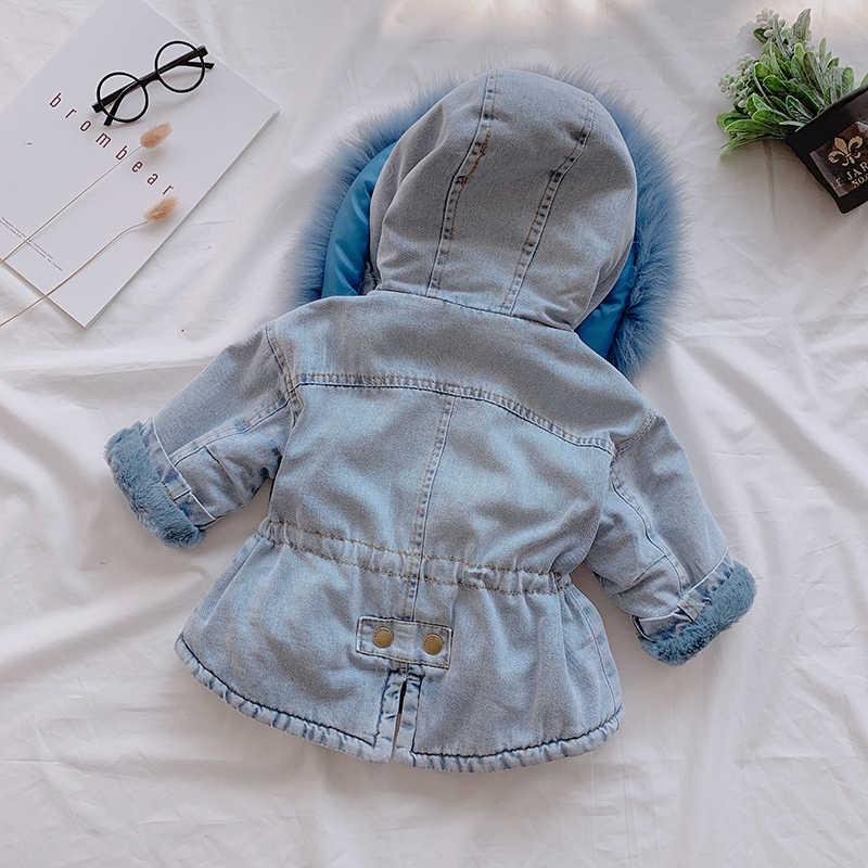 CYSINCOS חדש חורף תינוקת ג 'ינס מעיל בתוספת קטיפה פרווה חם פעוט הלבשה עליונה מעילי 1-6 שנה ילד תינוק parka מעיל רוח