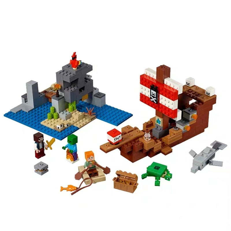 2019 New Compatible MinecraftING Pirate Ship Big Adventure 21152 Final Battle 21151 Boy Building Blocks Toys For Children