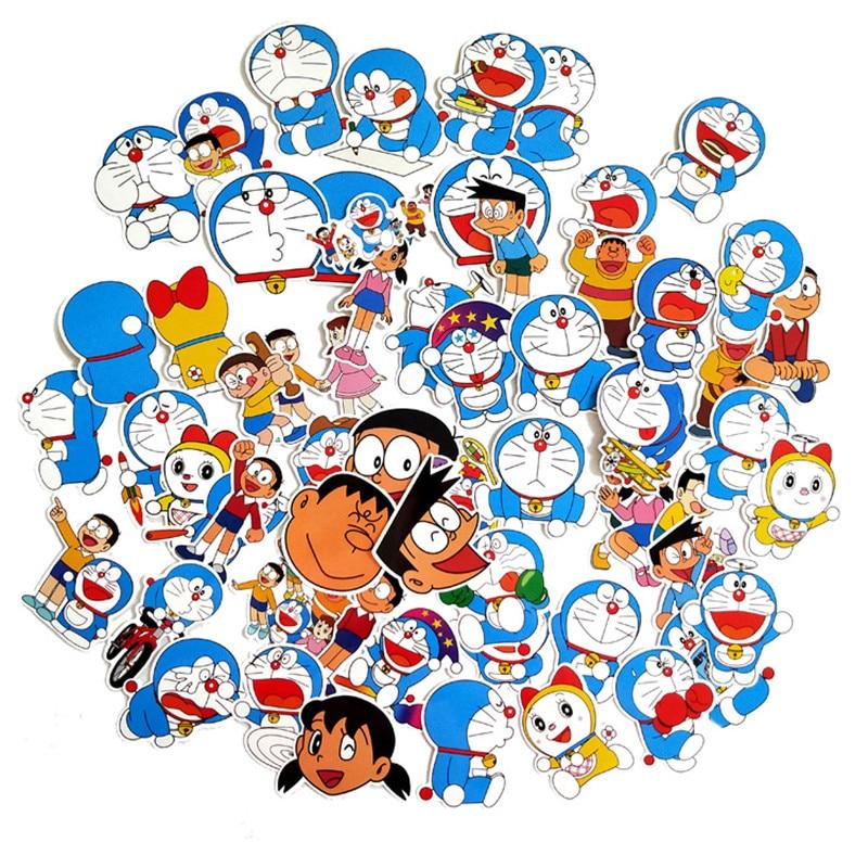 TD ZW 60Pcs Doraemon Stickers For Suitcase Skateboard Laptop Luggage Fridge Phone Car Styling DIY Decal Sticker