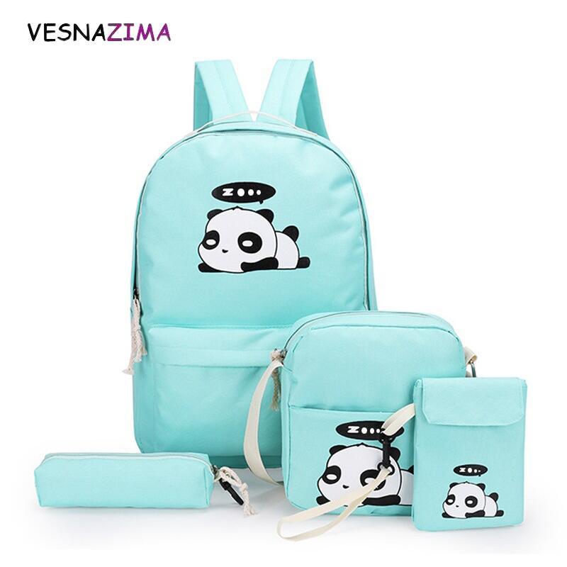 4pcs/set Canvas Women Backpacks Schoolbag Printing Cute Panda School Bag Backpack For Teenager Girls Rucksack Moclila Sac WM750Z