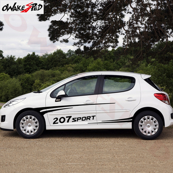 1Set Both Side Car Body Decor Stickers For-Peugeot 207 Racing Sport Stripes Styling Auto Door Accessories Decal Vinyl Decals