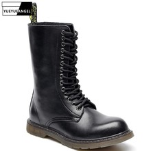 Fashion Autumn Retro Mid Calf Mens Motorcycle Boots Round Toe Lace Up Thick Bottom British Safety Male High Top Boots Plus Size