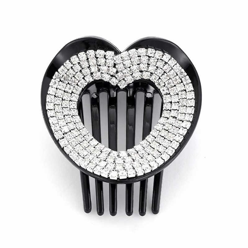 Girls Rhinestone Women Heart Shape Clamp Clip Headwear Hair Claw