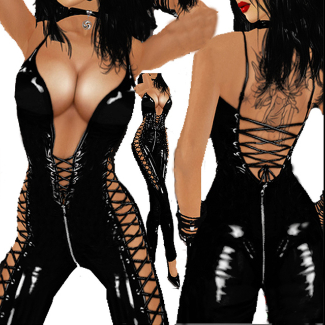 Erotic Sexy Open Crotch Latex Bodysuit Body Suit for Women Sex Crotchless Backless Breast Exposing Leather Lingerie Sexi
