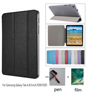 Ultra-thin pu + transparent Case for Samsung Galaxy Tab A 8.0 P200 P205 Flip Stand Funda Cover for Samsung TAB A 8.0 2019 + film(China)