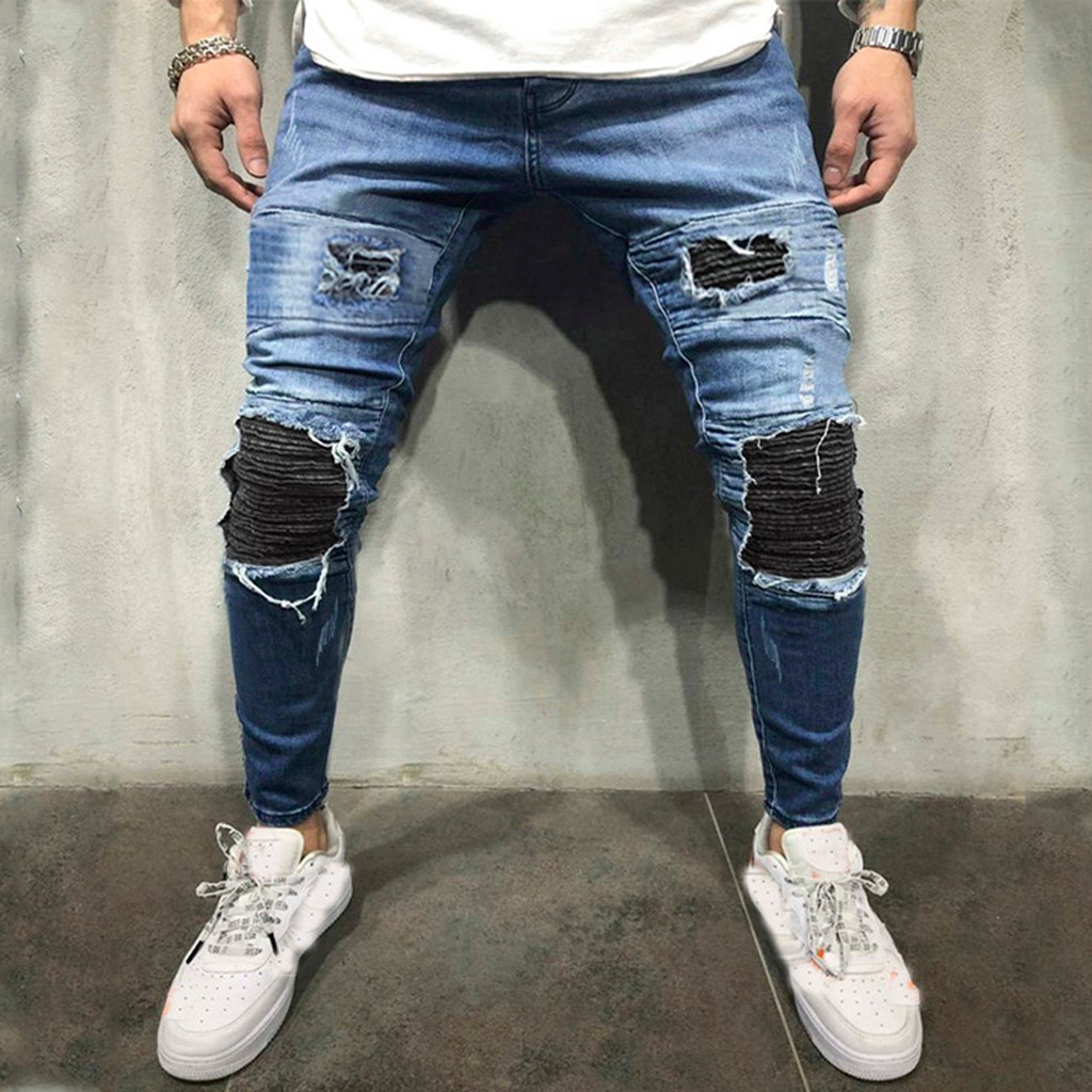 Stretch Denim Pants Solid Slim Fit Jeans Men Casual Biker Denim Jeans Male Street Hip Hop Vintage Trouser Skinny Pant G3
