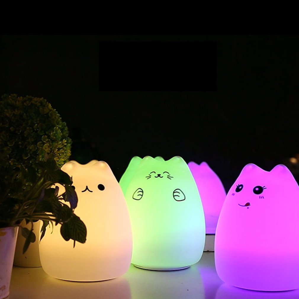 USB Rechargeable LED Colorful Night Light Animal Cat Stype Silicone Soft Breathing Cartoon Baby Nursery Lamp