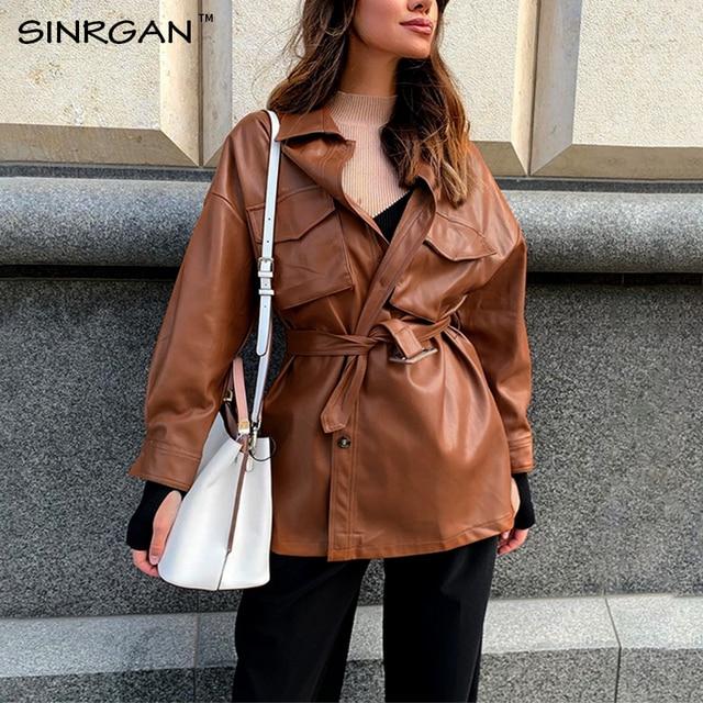 SINRGAN Blue Leather Short Dress With Belt Oversized Streetwear Jacket 5