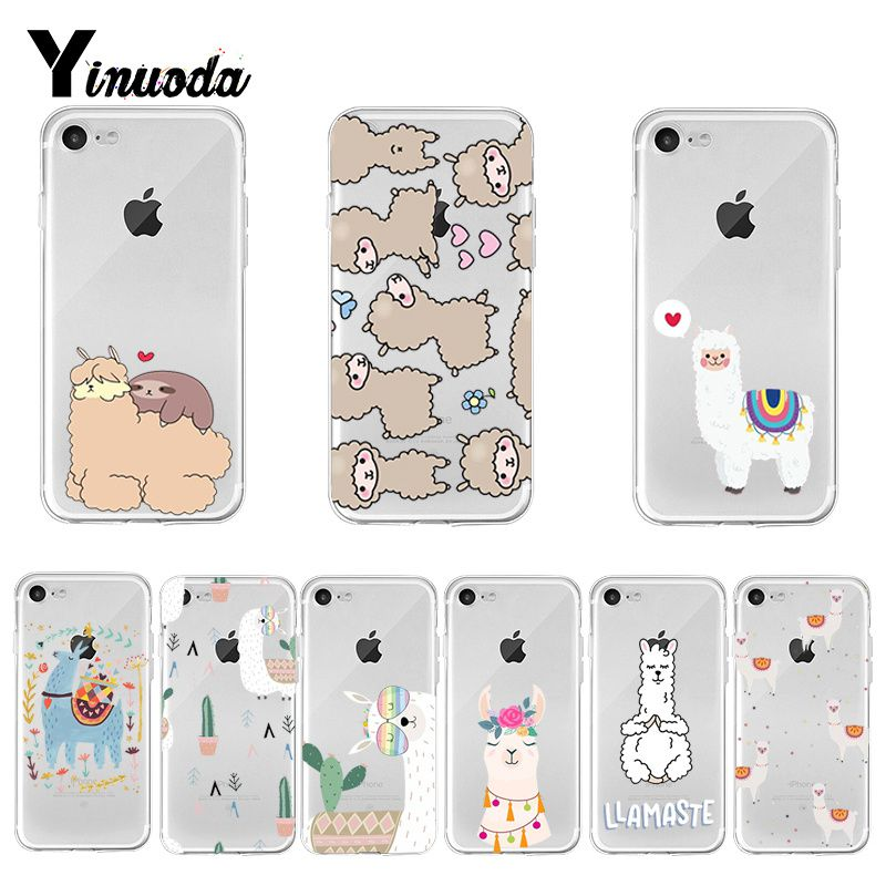 Yinuoda <font><b>Kawaii</b></font> Cute Llama Alpaca Animals Cartoon Soft TPU silicone <font><b>Phone</b></font> <font><b>Case</b></font> for <font><b>iPhone</b></font> 8 <font><b>7</b></font> 6 6S Plus X XS max 10 5 5S SE XR image
