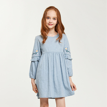 CupofSweet Embroidered O neck Shirt Dress Girls Clothing 2019 Autumn Fashion Long Sleeves Elegant Casual Kids Girl Dresses