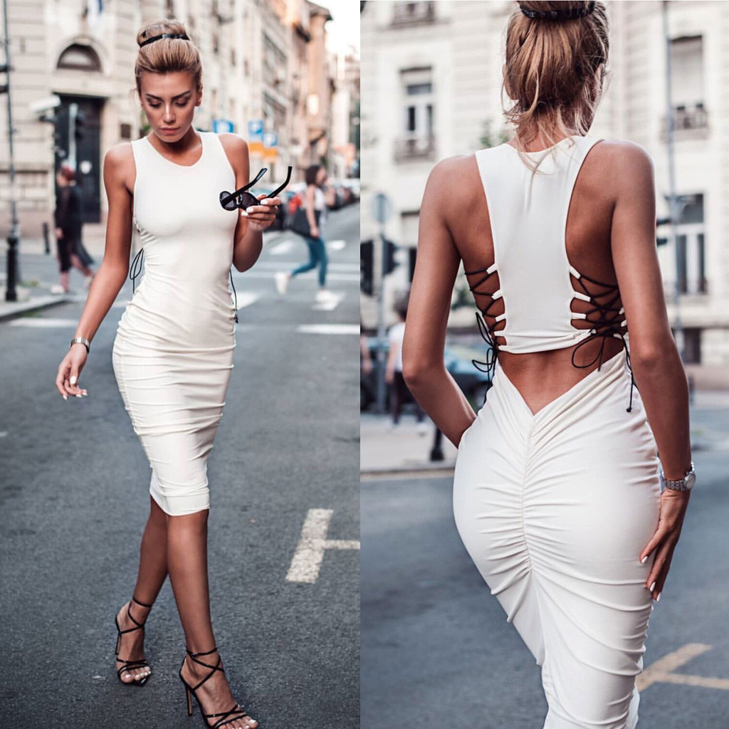 Evening Party Dress Short Sleeve Back Hollow Elegant Bodycon Dress Women New Summer Bandage Wedding Vestidos Ladies Dresses#J30