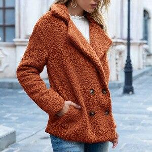 Image 5 - טדי מעיל נשים פו פרווה מעילים ארוך שרוול פלאפי פרווה מעילי חורף חם נשי מעיל נשים מעילי חורף 2020 בתוספת גודל 5XL