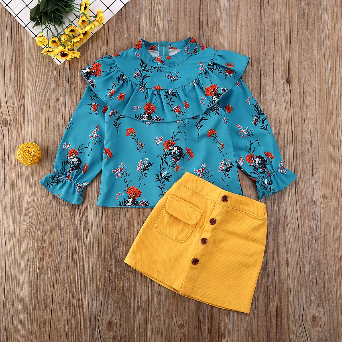 Pudcoco Toddler Baby Girl Clothes Flower Print Ruffle Long Sleeve Tops Solid Color Button Mini Skirt 2Pcs Outfits Clothes