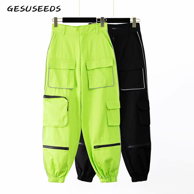 2020 Women Sweat Pants Casual Baggy Trousers Cargo High Waisted Pants Winter Women Korean Neon Green Pants Women